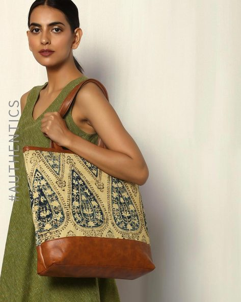 Handblock Print Kalamkari Kilim Tote Bag By A BIG INDIAN STORY ( Tan ) - 460083799001