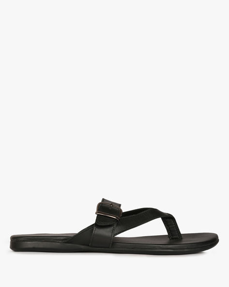 Leather Flats With Buckle-Strap By HUNTER'S BAY ( Black )