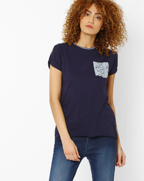 Crew-Neck T-shirt With Contrast Mock Pocket By Lee ( Navyblue )