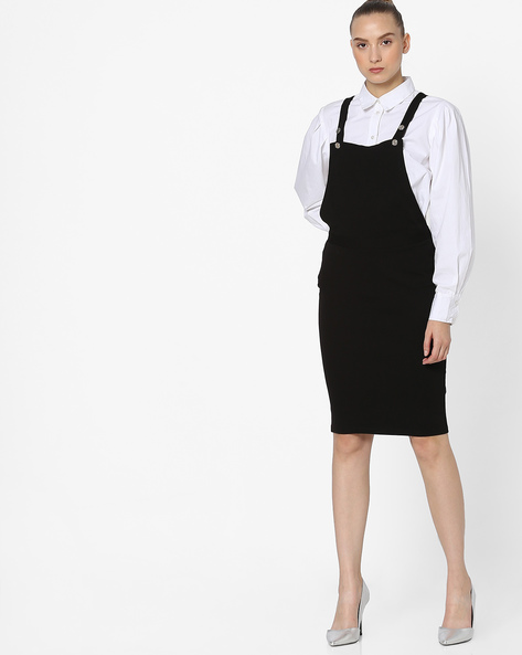 Dungaree Dress With Adjustable Straps By Ginger By Lifestyle ( Black )