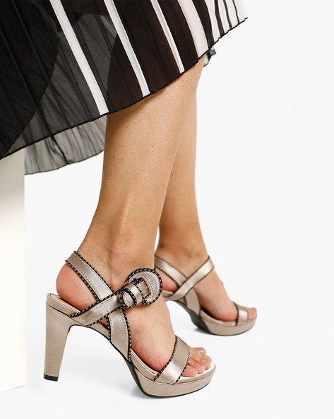 Strappy Chunky Heels With Buckle Closure By AJIO ( Beige )