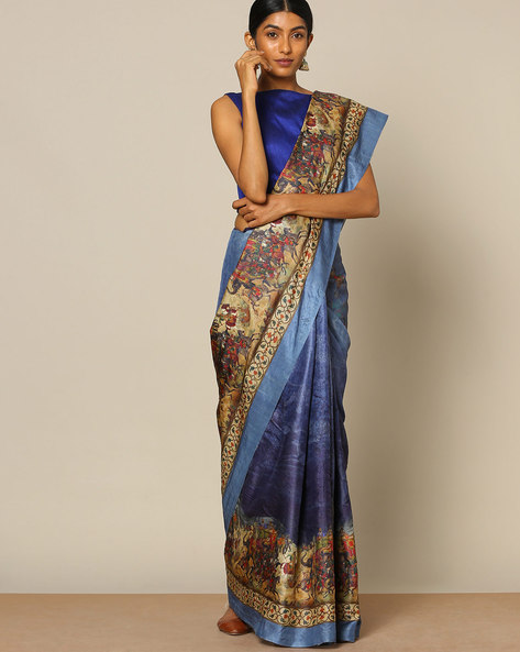Designer Pure Silk Tussar Mythological Print Saree By Rudrakaashe-MSU ( Blue )