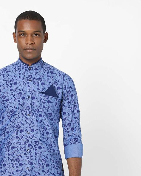Floral Print Shirt With Band Collar By Killer ( Blue )