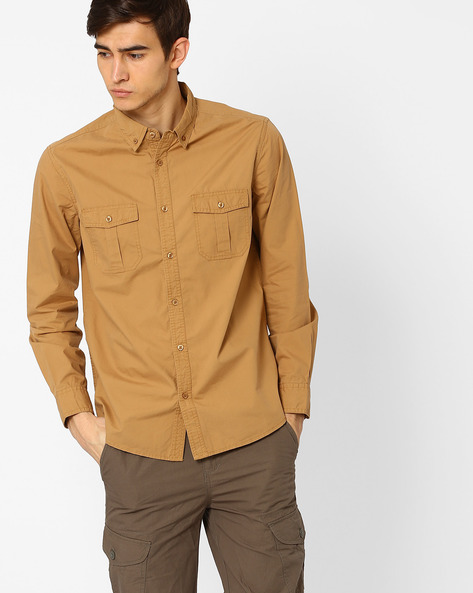 Casual Slim Fit Shirt By AJIO ( Khaki )
