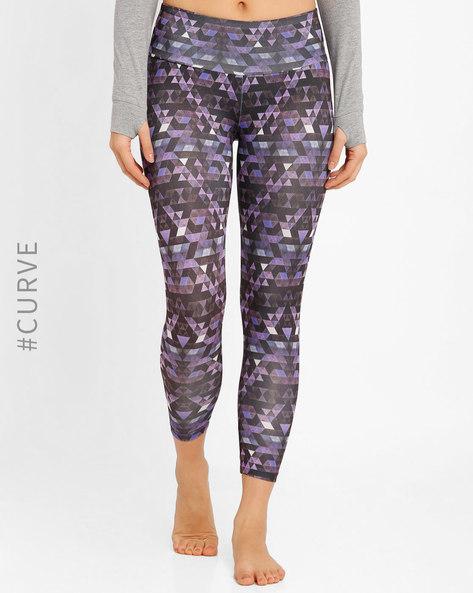 High-Rise Printed Leggings By AJIO ( Purple )