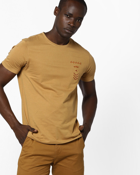 Crew-Neck T-shirt With Embroidered Badge By AJIO ( Khaki )