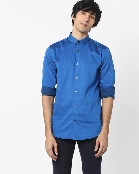 Slim Fit Shirt With Curved Hem By Jack & Jones ( Blue )