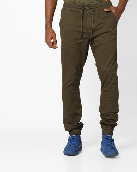 Cuffed Trousers With Drawstring Fastening By Locomotive ( Green )