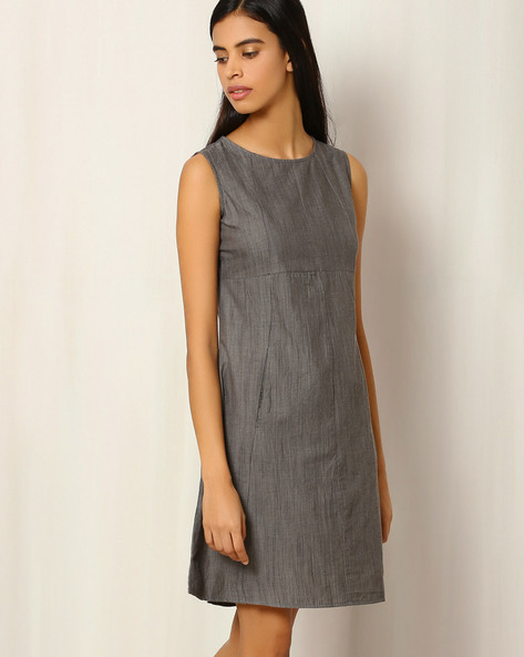 Cotton Slub Panelled Dress By The Wooden Closet ( Brown )