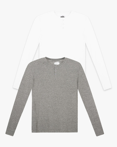 Pack Of 2 Cotton Henley T-shirts By AJIO ( Multicolor )
