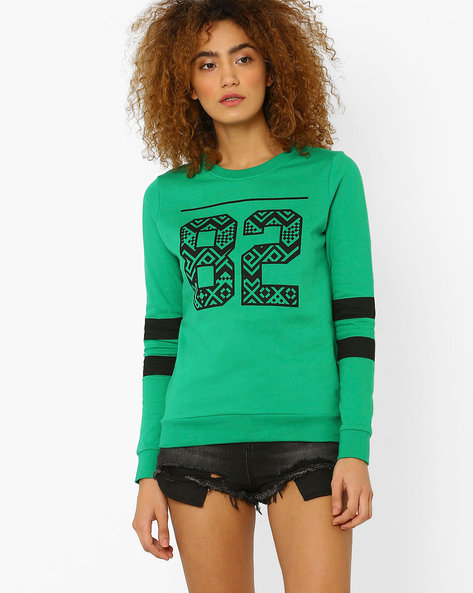 Printed Sweatshirt With Ribbed Hems By Vero Moda ( Green )