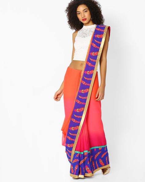 Chiffon Saree With Embroidered Motifs By Vastrangi ( Pink )