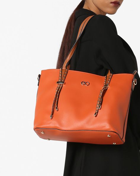 Handbag With Embellished Handles By E2O ( Orange )