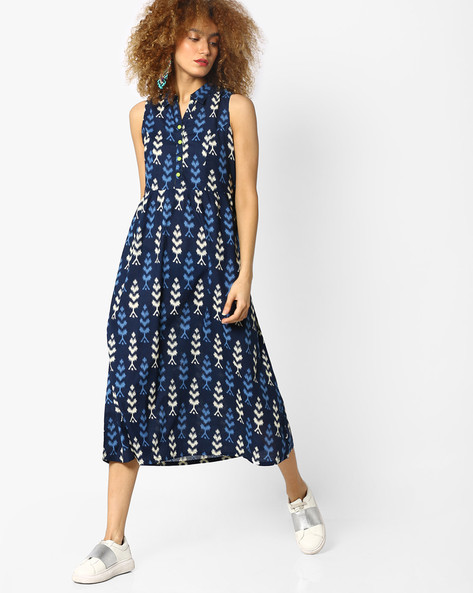 Printed Collared Dress By AJIO ( Blue )