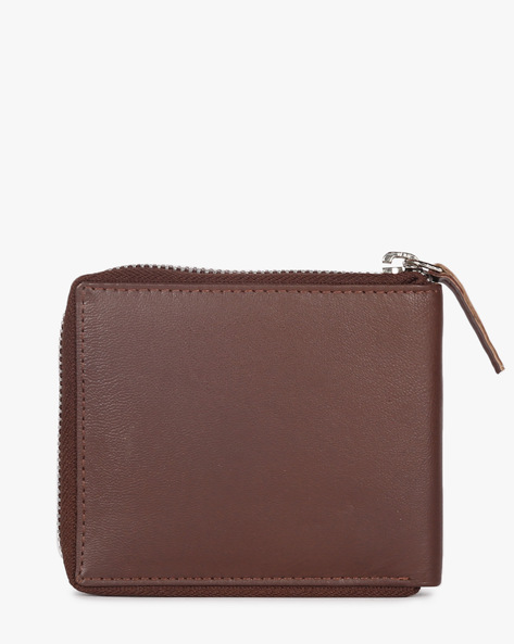 Bi-Fold Wallet With Zipper By TEAKWOOD LEATHERS ( Brown )