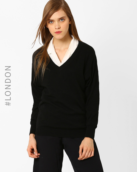 V-neck Pullover With Drop Shoulders By Marks & Spencer ( Black )