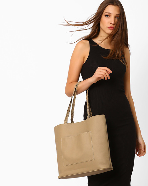 Tote Bag With Braided Handles By AJIO ( Nude )
