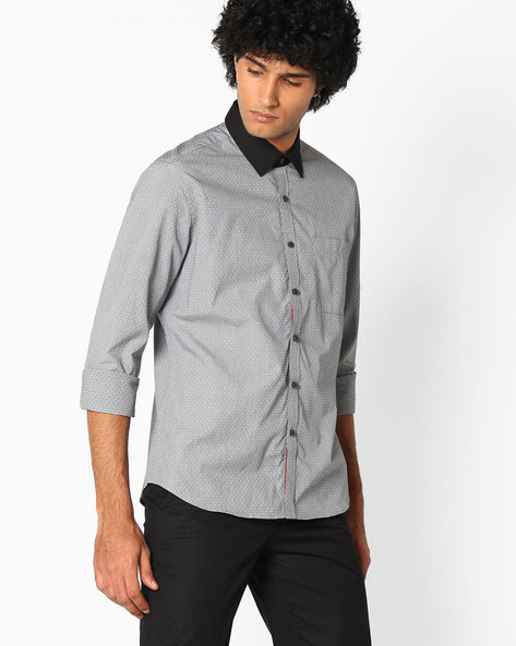 Cotton Shirt With Patch Pocket By NETWORK ( Black )