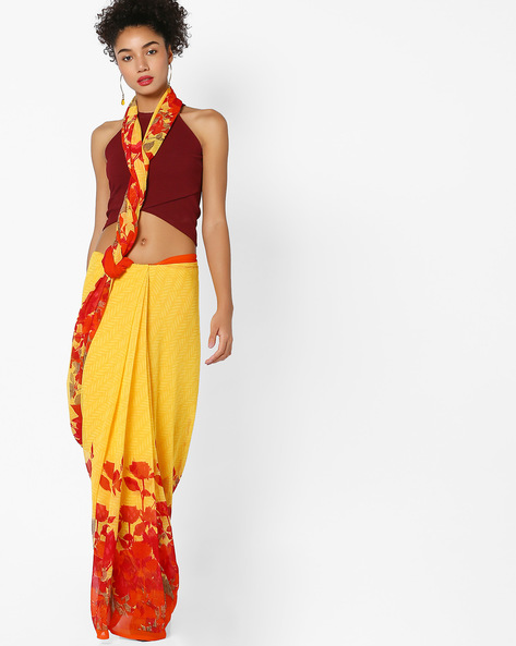 Floral Print Saree By Arissa ( Yellow )