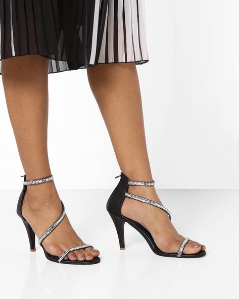 Embellished Heeled Sandals By MFT Couture ( Black )