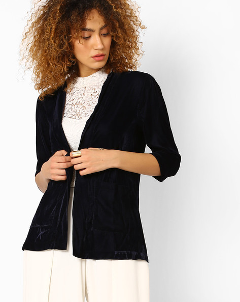 Velvet Jacket With Pockets By Evah London ( Navyblue )