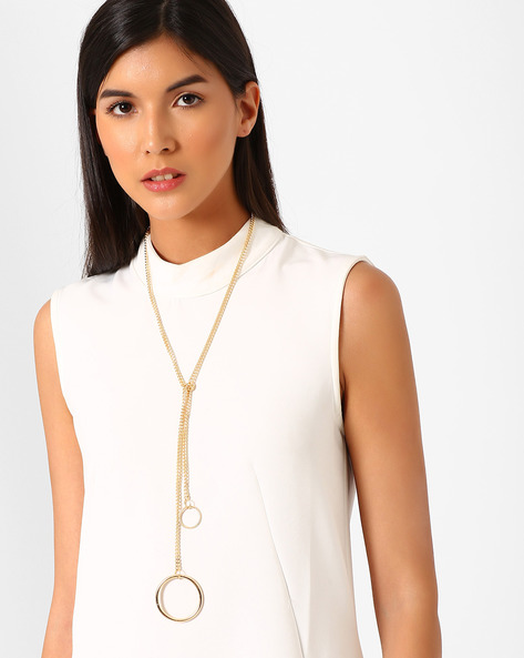 Loop & Chain Necklace By Joker & Witch ( Gold )