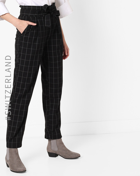 High-Rise Trousers With Tie-Up By TALLY WEiJL ( Black )