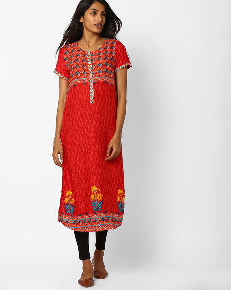 Printed Straight Kurta By Biba ( Red )