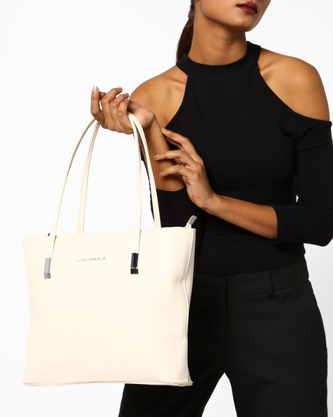 Tote Bag With Short Handles By Lino Perros ( White )