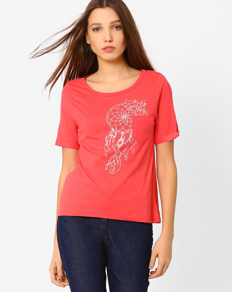 Crew-Neck Printed T-Shirt By AJIO ( Orange )