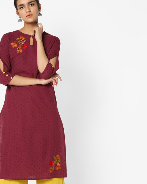 Dobby-Weave Kurta With Palazzo Pants By AJIO ( Burgundy )
