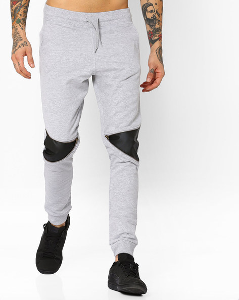 Joggers With Leather Panels By Garcon ( Greymelange )