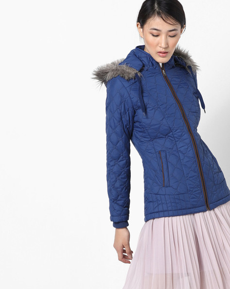 Hooded Quilted Jacket By Fort Collins ( Navy ) - 460142878002