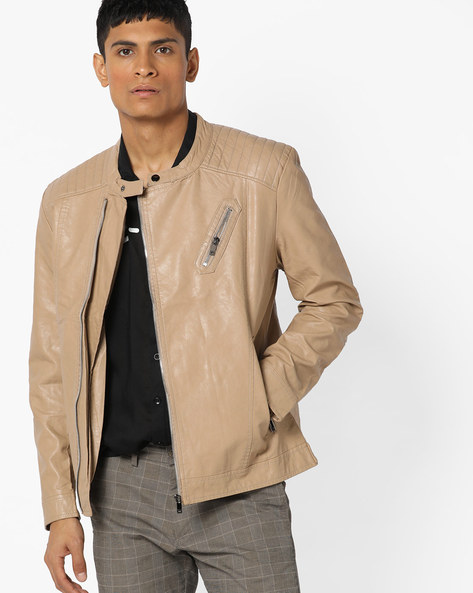 Slim Fit Biker Jacket With Zip Pockets By The Indian Garage Co ( Khaki )