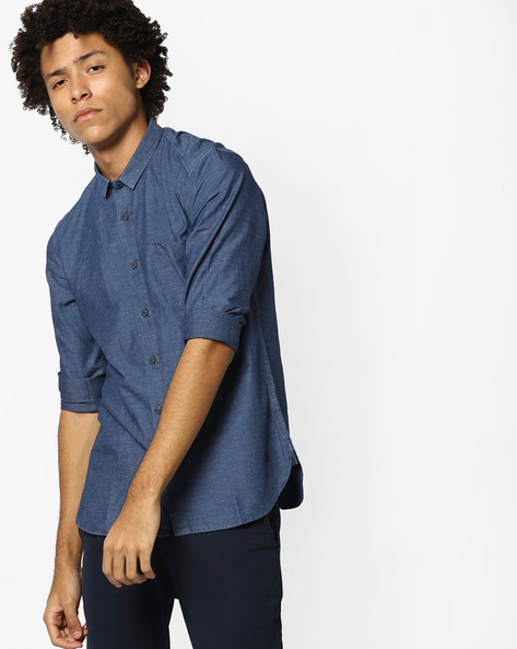 Cotton Slim Fit Shirt By VOI JEANS ( Blue )