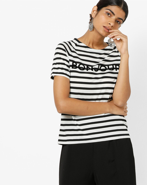 Striped Top With Raglan Sleeves By Only ( Black )