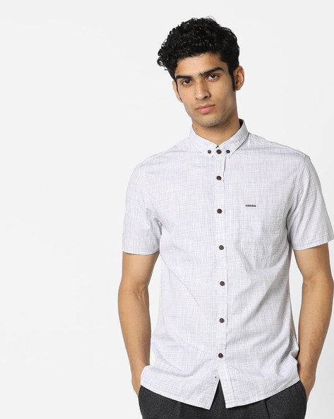 Slim Fit Striped Shirt With Button-Down Collar By AJIO ( White ) - 460130643003