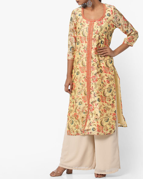 Floral Print Straight Kurta By Melange By Lifestyle ( Yellow )