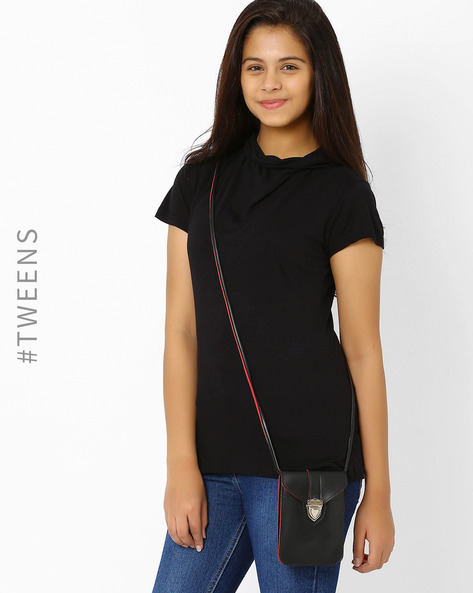Faux Leather Sling Bag By Tessa Moda ( Black ) - 460007912003