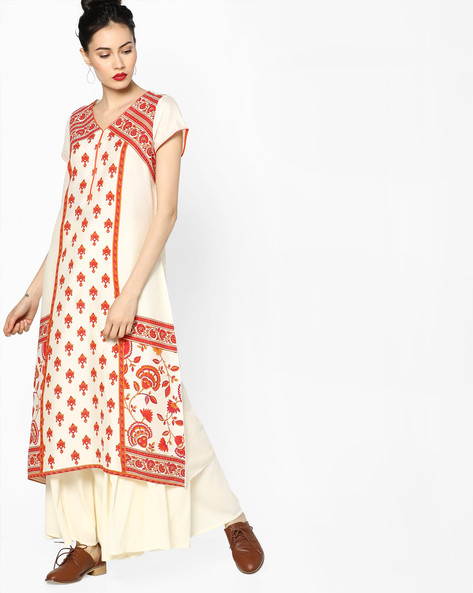 Floral Print Kurta With Dipped Hem By Melange By Lifestyle ( Offwhite )