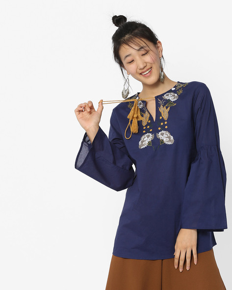 Tunic With Bell Sleeves & Embroidery By Rena Love ( Navyblue )