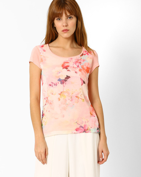 Floral Print High-Low Top By Honey By Pantaloons ( Coral )