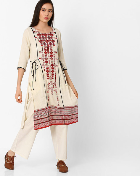 Printed Straight Kurta With Side Tie-Up By Shakumbhari ( Red )