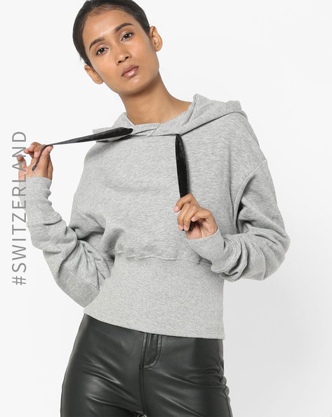 Hooded Sweatshirt With Ribbed Waist By TALLY WEiJL ( Grey )