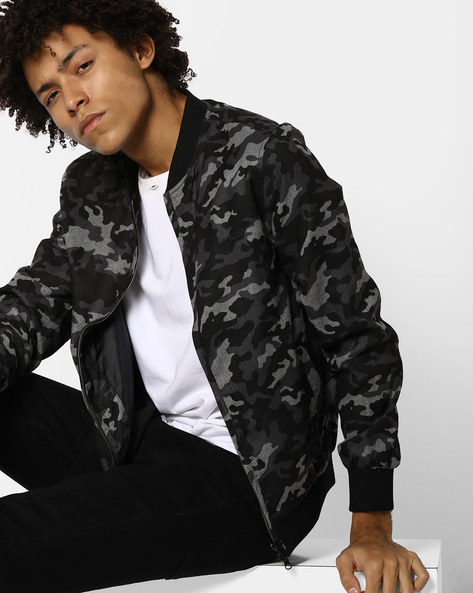 Camouflage Print Jacket With Stand Collar By FLYING MACHINE ( Assorted )