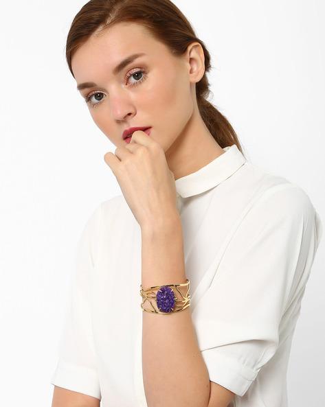 Cuff Bracelet With Textured Bead By AJIO ( Purple )