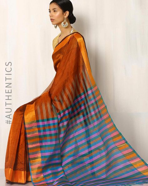 Handwoven Mangalgiri Cotton Silk Saree By Indie Picks ( Orange )