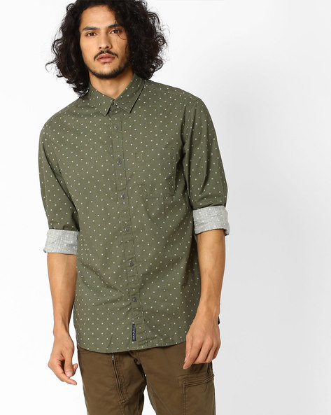 Regular Fit Printed Shirt By INDIAN TERRAIN ( Olive )