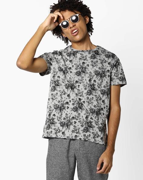 Floral Print Slim T-shirt By AJIO ( Greymelange )