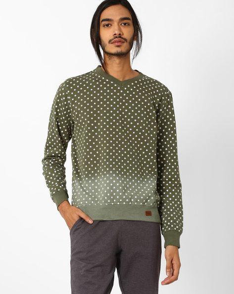 Printed V-neck Slim Sweatshirt By Blue Saint ( Multicolour )